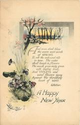 A HAPPY NEW YEAR violets and trees