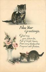 CHRISTMAS GREETINGS or NEW YEAR GREETINGS  two kittens & vase of roses