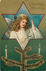 CHRISTMAS GREETINGS  angel playing triangle in star inset, tree branch with candles below