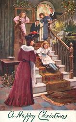 girl slides down stairs, mother looks on below, others above on stairs