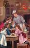 cook looks over five children around pot on table, boy stirs pot
