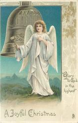 A JOYFUL CHRISTMAS. GLORY TO GOD IN THE HIGHEST  angel ringing silver bell