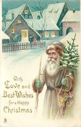 WITH LOVE AND BEST WISHES FOR A HAPPY CHRISTMAS  brown robed Santa with toys & tree, houses behind