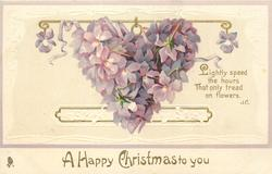 A HAPPY CHRISTMAS  TO YOU  heart composed of violets