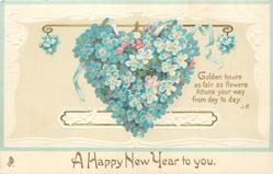 A HAPPY NEW YEAR TO YOU  heart composed of blue forget-me-nots