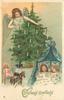 CHRISTMAS GREETINGS  angel  in blue to left of Christmas tree, two children asleep in bed below