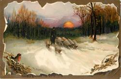 man herding sheep forward down snowy path, setting sun behind