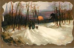 two people and dog walking close together down the snowy dark road with trees around, setting sun behind
