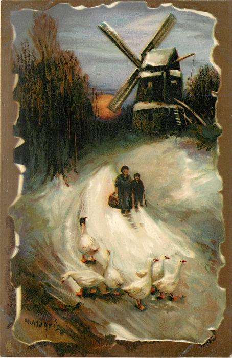 mother and child walking down snowy road with geese ahead and windmill behind