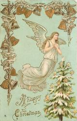 A HAPPY CHRISTMAS  angel above single tree, bells above & left