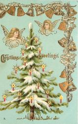 CHRISTMAS GREETINGS  two angels heads above tree,  bells on the top and right