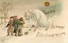 A HAPPY CHRISTMAS TO YOU, three boys huddle left as snowman melts