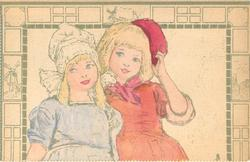 two Dutch children close together, one in bonnet other has cap on side of head