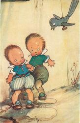 two boys, one crying cower below wooden blue-bird