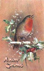 A HAPPY CHRISTMAS  robin facing right, holly below