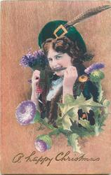 girl with bunch of purple flower, bow in front of her teeth, thistles