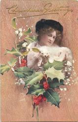 girl with white fur, fox face visible under chin, her head tilted slight right, mistletoe & holly