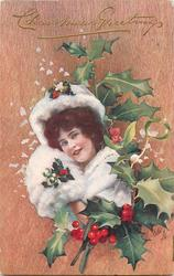 girl with white fur, fox face not visible, mistletoe & holly