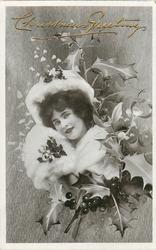 girl with white fur, fox face not visible, mistletoe & holly, greetings above