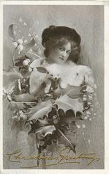 girl with white fur, fox face visible, mistletoe & holly, greetings below