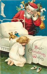 BEST CHRISTMAS WISHES  Santa with bag of toys looking down at kneeling girl saying her prayers