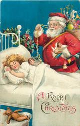 A HAPPY CHRISTMAS  Santa with bag of toys looking down at sleeping girl