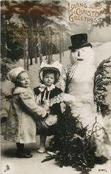 LOVING CHRISTMAS GREETINGS  two girls left, snowman right