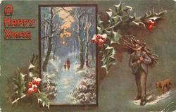 A HAPPY XMAS  man carring sticks with dog right, inset person and child walking front in snow