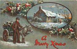A MERRY XMAS  boy with donkey cart left, inset cottages