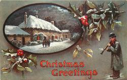 CHRISTMAS GREETINGS  man playing flute right, inset farm buildings