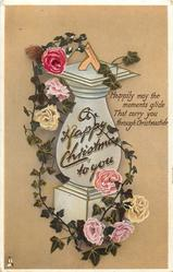 A HAPPY CHRISTMAS TO YOU roses & sundial