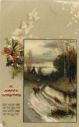 HAPPY CHRISTMAS  inset woman & boy walk away down snowy road to lighted cottage, water right