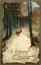 A HAPPY CHRISTMAS  inset stag on snowy road