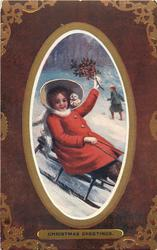 A MERRY CHRISTMAS girl sitting on sled, wearing red coat