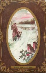 CHRISTMAS GREETINGS  woman, dog, two robins
