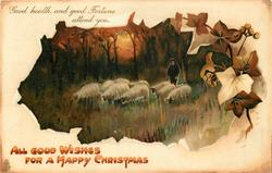 ALL GOOD WISHES FOR A HAPPY CHRISTMAS  inset shepherd and ten sheep