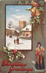 CHRISTMAS GREETINGS  inset of village church above, old woman below right, holly & bells