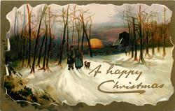 A HAPPY CHRISTMAS  inset  man, woman & dog walk front on snowy road, setting sun & church behind