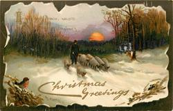 CHRISTMAS GREETINGS  inset  shepherd drives eight sheep forward on snowy lane, setting sun behind