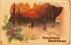 CHRISTMAS GREETINGS  inset man and dog walk front through snowy woods