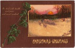 CHRISTMAS GREETINGS  inset  shepherd drives eight sheep forward on snowy lane, setting sun behind