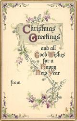 CHRISTMAS GREETINGS  flower design and borders