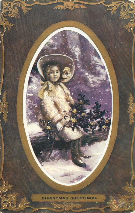 CHRISTMAS GREETINGS  inset girl sitting on log, evergreen branch in hand