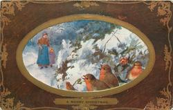 A MERRY CHRISTMAS  inset woman & child walk forward left, in snow, four robins right