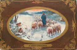 A HAPPY CHRISTMAS  inset shepherd drives sheep away on snowy road, three robins left