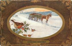 CHRISTMAS GREETINGS  inset horse drawn led right in snow, robin left
