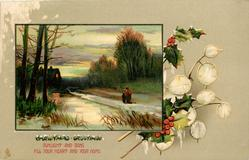 CHRISTMAS GREETINGS  inset  woman & child move away towards lighted cottage back left
