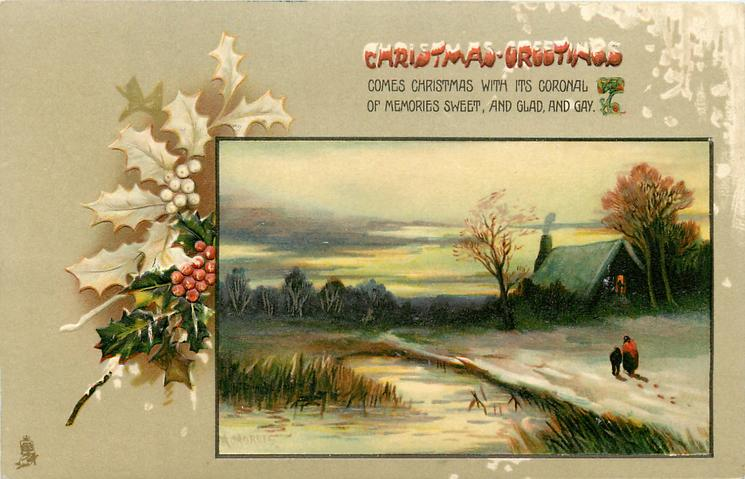 CHRISTMAS GREETINGS  inset  woman & child move away in snow towards lighted cottage right, water & rushes left
