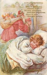 CHRISTMAS GREETINGS  Santa with sack behind child asleep in bed