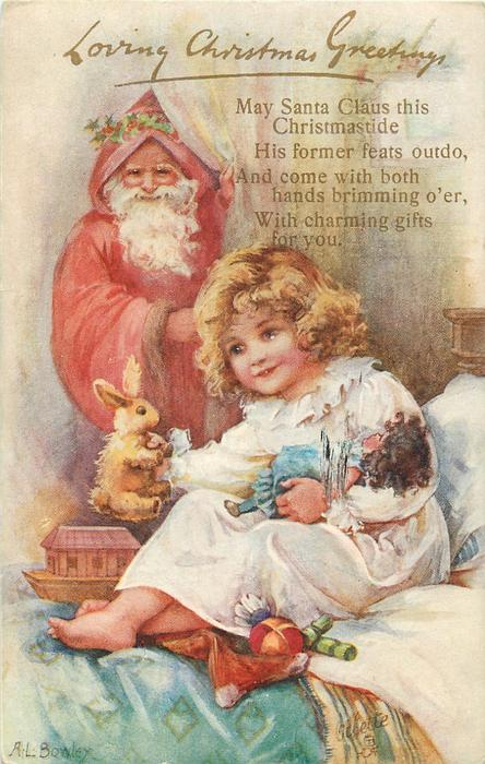 LOVING CHRISTMAS GREETINGS  Santa behind child on bed oldong doll & bunny